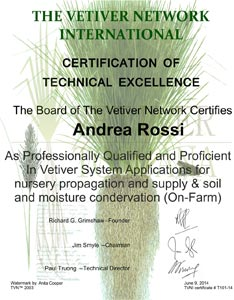 TVNI certification Vetiver Toscana s